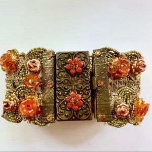 Vintage Metal Fabric Rose Acrylic Accent Cuff NWOT